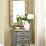 Simple And Cute Small Console Table For Hallway In Gray Color With Framed Wall Mirror