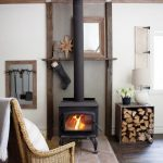 Simple Cubby Box For The Logs For The Fireplace In Neat Square And Compact Also Rustic Style And Serves As Side Table For Table Lamp And Vase