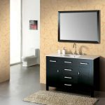 simple image of bathroom vanity idea  in simple black color with drawers and framed wall mirror and curved faucet