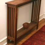 Simple Natural Wooden Small Console Table For Hallway Idea With Traditional Pottery On Wooden Floor With Red Carpe