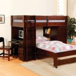 simple-walnut-twin-loft-bed-with-desk-and-storage-with-two-beds-and-one-bed-with-wheels-also-use-ladder-with-some-drawers