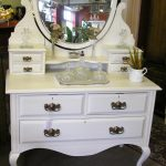 single white vintage dressing table idea with drawers and shaped mirror with glass make up tray