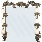 sophisticated 6 light vanity fixture with leaf ornaments for adorable bathroom ideas