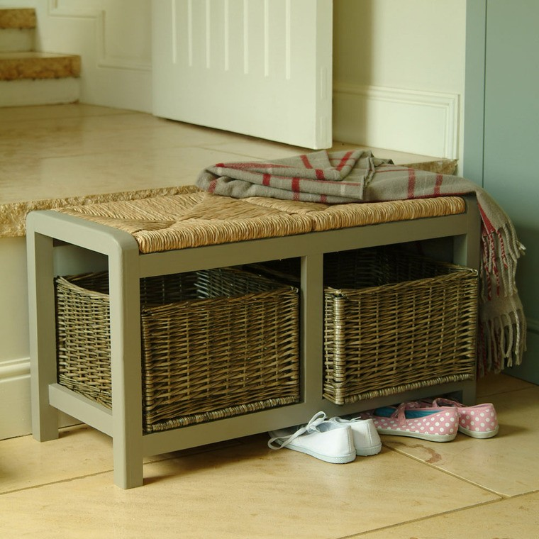 30 Eye Catching Entryway Benches For Your Home: Small Bench With Storage For Entryway: Storage And Stylish