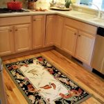 Striking Rooster Kitchen Rugs Arrangen In Stunning Kitchen With L Shape Wooden Cabinets And Tile For Backsplash Plus Wooden Floor And White Countertop