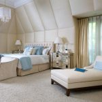 stunning bedroom design in creamy white and soft blue color combination and comfy chair for bedroom design with creamy curtain