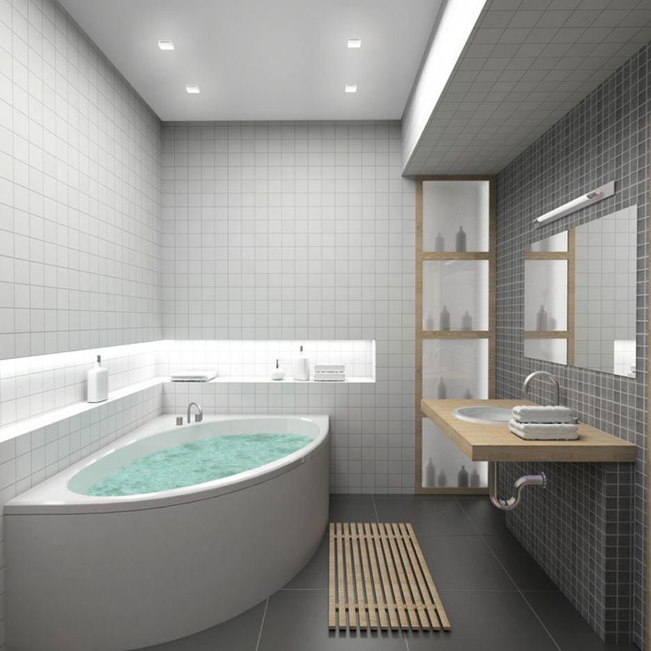 Stunning Corner White Tub For Small Bathroom With Tile Wall Idea And Floating Wooden Vanity