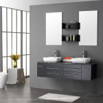 stunning gray image of bathroom vanity idea with drawers and double white sinks and modern faucet and frameless wall mirror