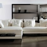 stunning interior design with white  ikea leather couch idea design with bench and black coffee table and wooden floor