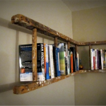 stunning ladder bookshelves design in rustic tone floating on the wall w