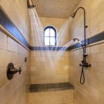 stunning shower ideas for master bathroom with double shower heads together with tile floor and wall ideas
