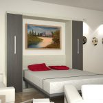 stunning white bedroom idea with white bedding and red pillows and gray closet and wall lamps
