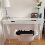 stunning white console table ikea design with white shaded table lamp and white chair with black cushion on wooden floor