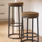 traditional kitchen bar ideas with round wooden seat and metal frame for kitchen ideas