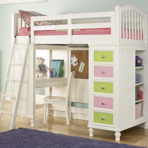 Twin Loft Bed With Desk And Storage In