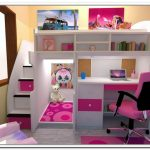 twin-loft-bed-with-storage-and-desk-for-girls-in-pink-and-white-theme-with-pink-chair-for-the-desk-placed-in-the-corner-with-free-space-under-the-bed