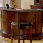 unique and classic wooden furnished home bar ikea design with brown leather stools with back and round bar table