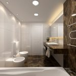 Unique And Stylish Bathroom Idea With White Sidiing And Brown Patterned Wall With Towel Storage