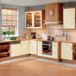 unique and well organized kitchen collection design with beige wooden cabinet and white accent and blue painted wall and wooden flooring