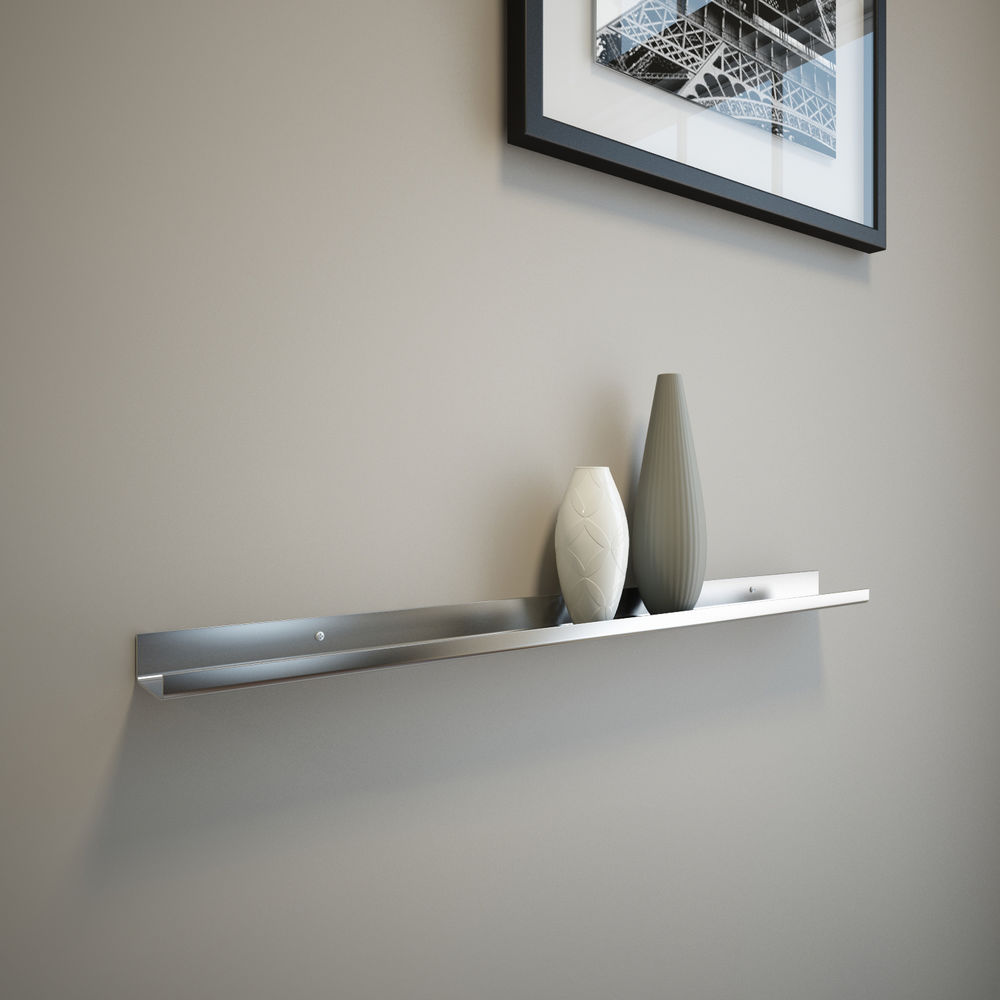 Unique Stainless Steel Floating Shelf Design In Single Style With Light Model Beneath Framed Wall Mirror