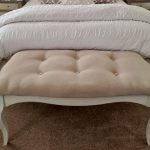vintage tufted bed ottoman bench in classy design with brown area rug plus white comforter set