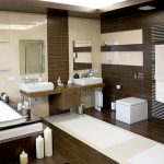 well organized modern bathroom idea with creamy siding and brown wooden wall and unit and white narrow contemporary rug for bathroom