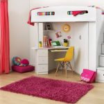 white bunk with stairs and desk unit deep pink bedroom rug idea pink window curtain