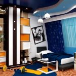 wonderful blue beautiful interior design with unique accent and details and yellow color pattern and brown combination