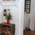 Wood Crates For Wood Boxes Or Storage Placed On The Entrance Hallway And Under The Coat Rack Also Serve As A Side Table In The Hallway
