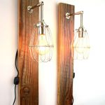 wooden light fixtures with attractive bulb covered with metal frame