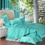 A fancy bedroom decor idea with cozy turquoise comforter set