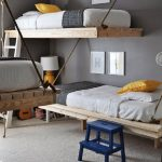 Amazing Floating Sturdy Bunk Beds For Adults On Grey Wall