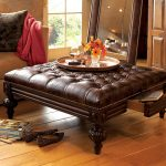 Antique tufted leather Ottoman coffee table with drawer