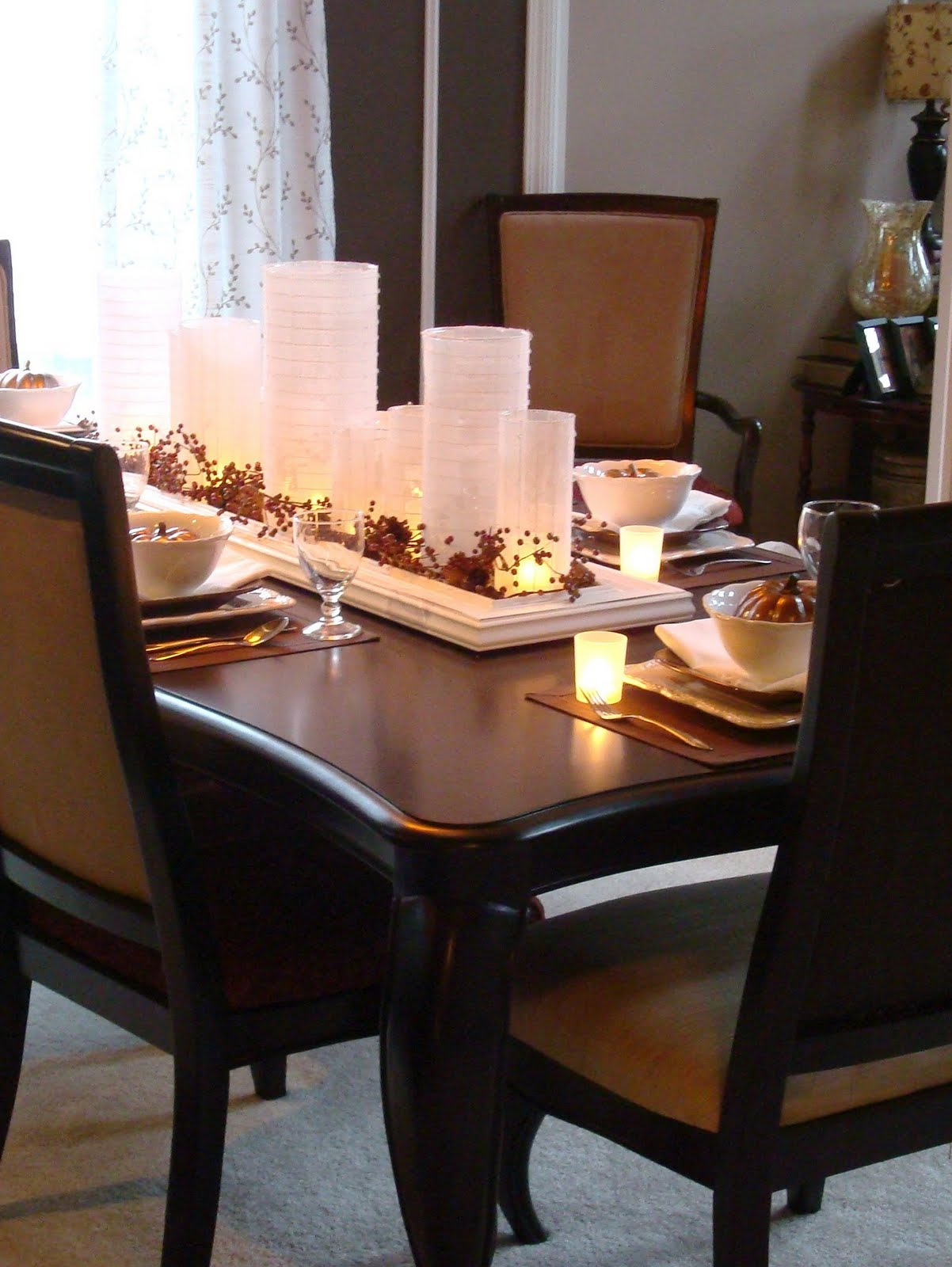 Awesome Candle Decor With Centerpieces For Dining Room Tables Design