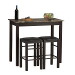 Awesome Dark Wooden High Top Tables Ikea With Marble Design