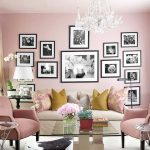Awesome Pink Living Room With Frames Crystal Chandelier Glass Table And White Sofa Of Home Furnishing Catalogs