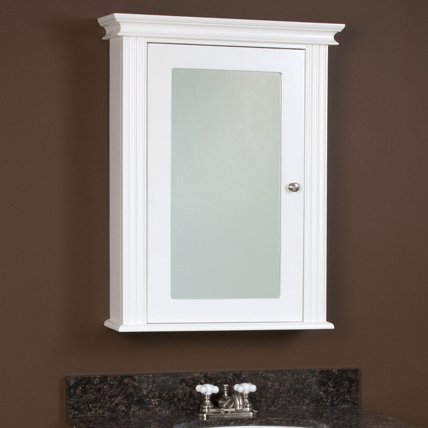 Awesome White Wooden Recessed Medicine Cabinet No Mirror On Brown Wall