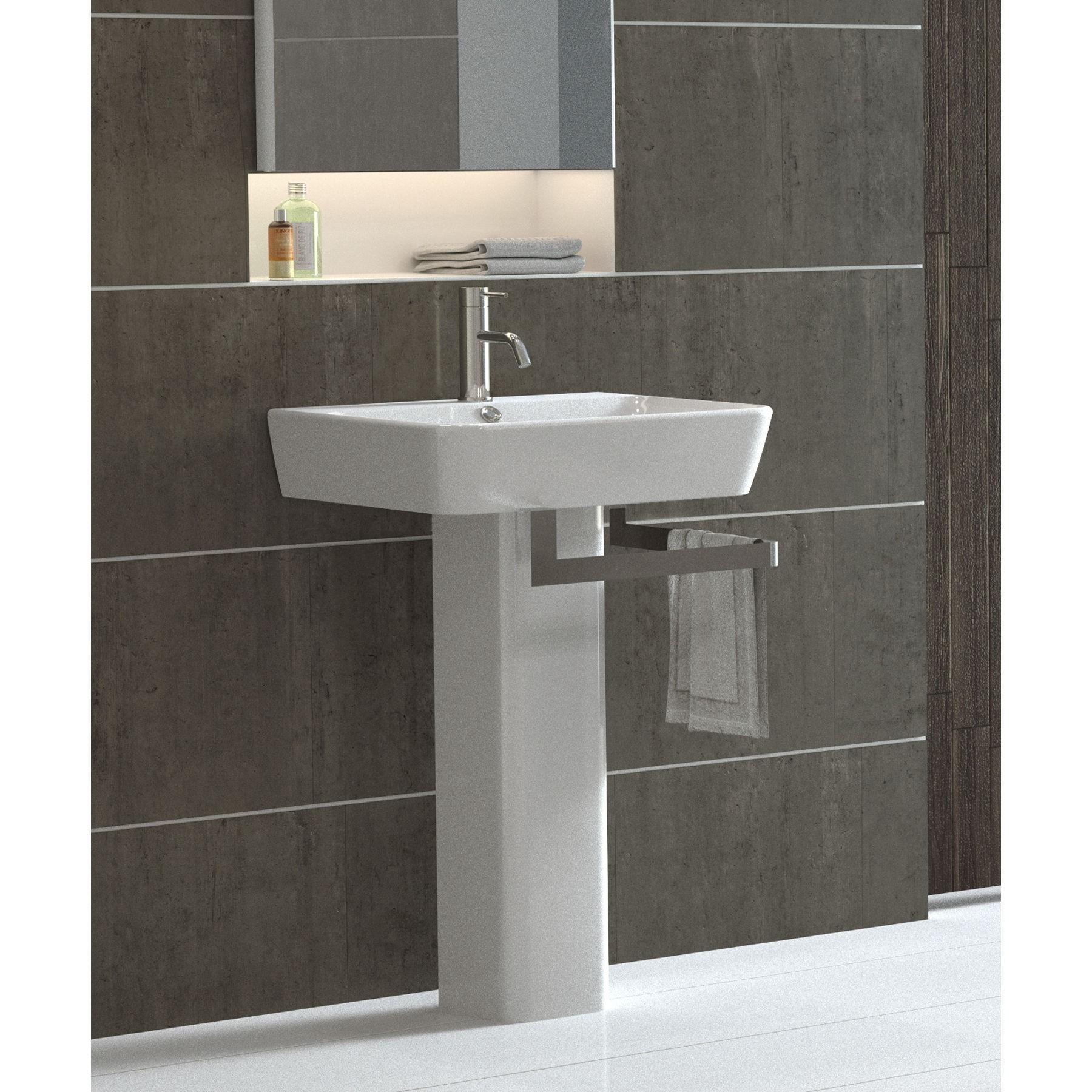 Modern Pedestal Sink With Towel Bar Homesfeed