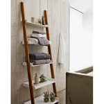 Bathroom wooden ladder rack with white shelves