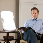 Best Sun Lamp For Sad For Reading Lighting On Wooden Side Table Next To Accent Chair