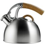 Best Tea Kettle Ever With Grey Design And Unique Wooden Holder