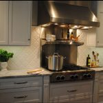 Beveled Arabesque Tile On Kitchen Wall With Kitchen White Cabinet Set