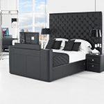 Black Beds With Built In TV Big Headboard And White Black Stripped Bedding