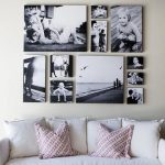 Black and white theme canvas photo collage design for living room
