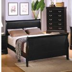 Black finished Sleigh bed frame design with headboard and footboard