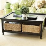 Black finished wooden coffee table with baskets