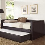 Black leather frame daybed with trundle in extra size