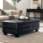 Black tufted leather Ottoman coffee table for living room