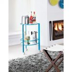 Blue metal framed bar cart idea with round clear glass shelf units and also casters