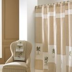 Brown White Stripped Crate And Barrel Drapes With Towel And Chair With Same Color Design